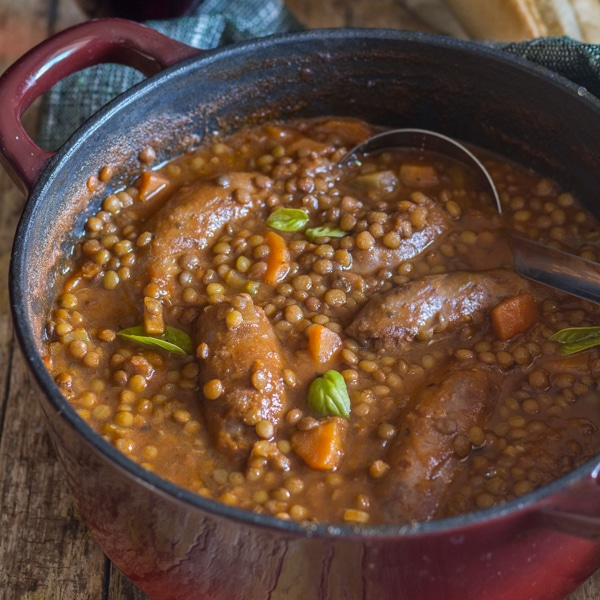 Easy Italian Lentils and Sausage Stew