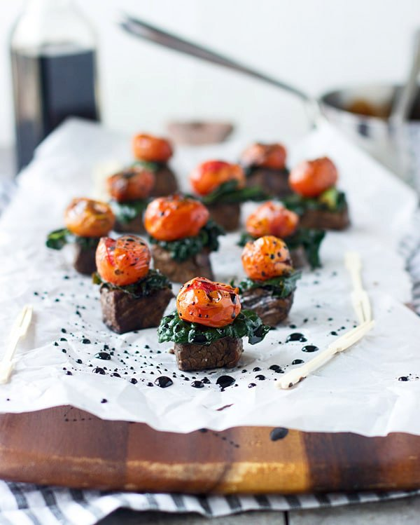 Balsamic Marinated Steak Bites with Kale and Roasted Tomatoes