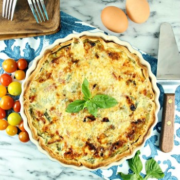 Tuscan Kale & Sun-dried Tomato Quiche with Basil Honey Whipped Ricotta