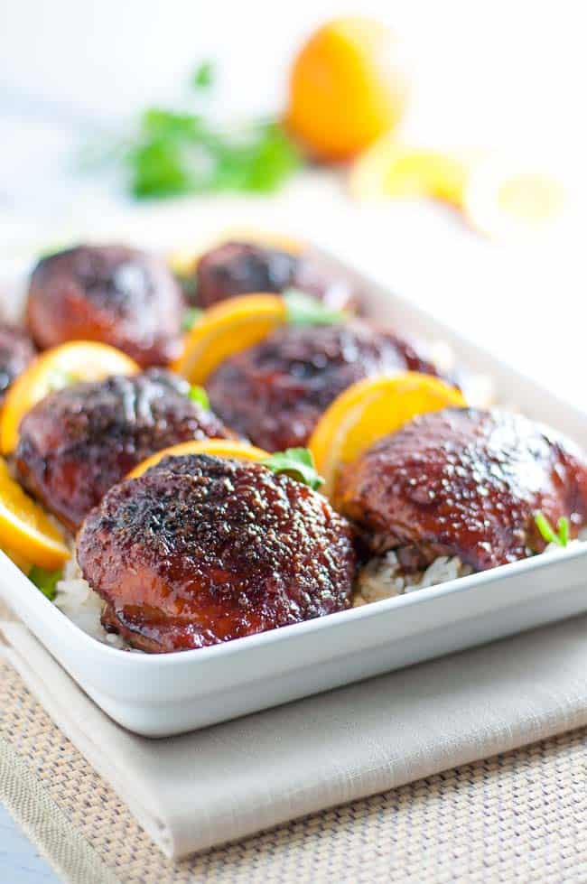 Hoisin Orange Glazed Chicken Thighs
