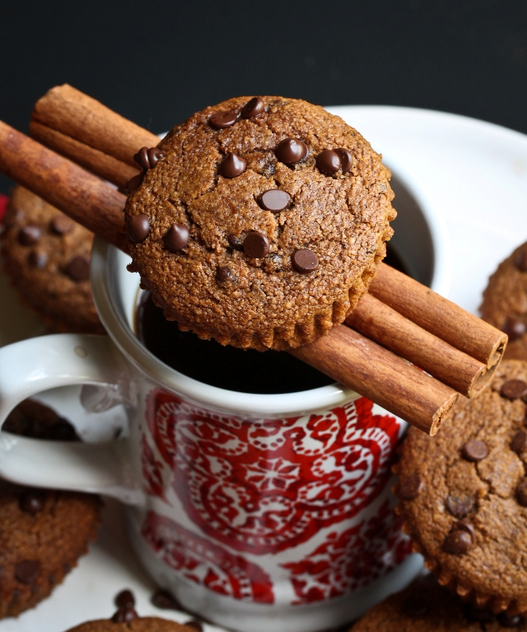 Vegan Cinnamon Coffee Chocolate Chip Muffins